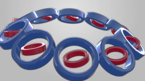 Rolling red-purple-blue tubes Animation