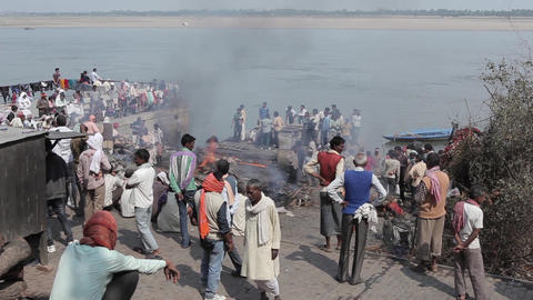 Burning Of Corpses At Ghat In Varanasi, India stock footage