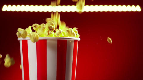 12 Bowl Filled With Popcorns For Movie Night Slowmotion 120p stock footage