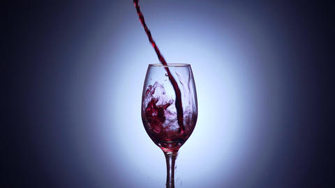 7 Glass Filled With Red Wine In Super Slowmotion 240p Footage