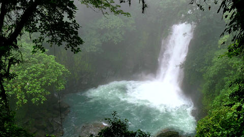 Waterfall Lagoon Rainforest Jungle Tenorio Volcano National Park Costa Rica Footage