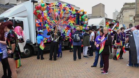 People wearing rainbow, fancy costume during gay pride Footage