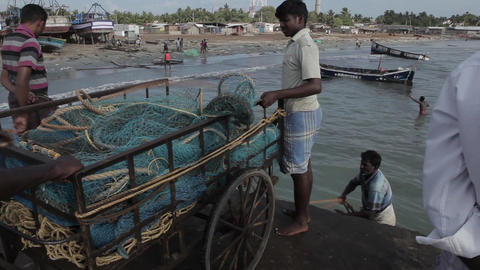 Indian fishers on boats, India Footage