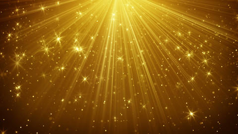 Gold Light Rays And Stars Loopable Background 4k (4096x2304) stock footage