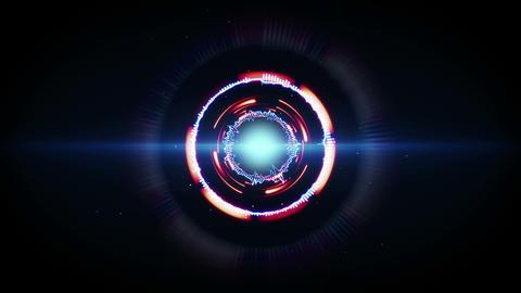 blue red glow futuristic circular shape animation loop 4k (4096x2304) Animation