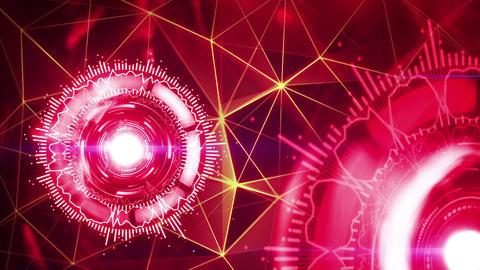 rotating red circular elements seamless loop 4k (4096x2304) Stock Video Footage