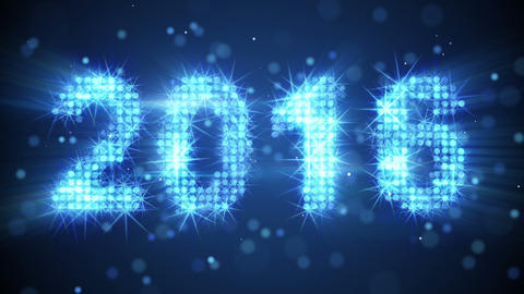 new year 2016 greeting glowing blue particles loop Animation