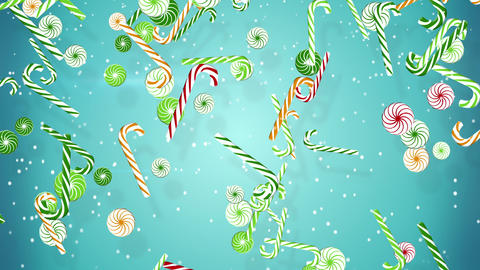 colorful christmas candy canes falling loopable background Animation