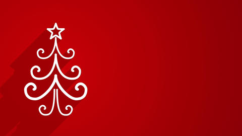 christmas tree shape with long shadows on red 4k (4096x2304) Animation