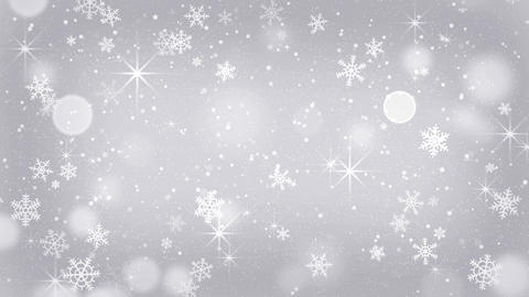 silver snowflakes and stars falling seamless loop 4k (4096x2304) Animation