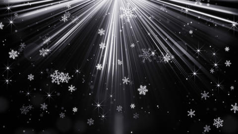 snowflakes in light beams on black loopable background 4k (4096x2304) Animation