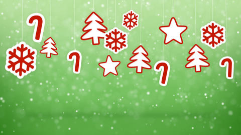 hanging christmas decoration and snowfall loopable background Animation