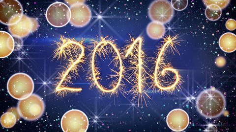 sparkler text animation new 2016 year greeting 4k (4096x2304) Animation