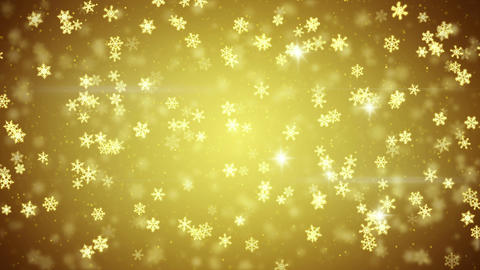 golden snowfall glowing snowflakes seamless loop 4k (4096x2304) Animation