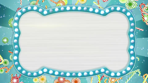 flash light bulbs banner and christmas candy canes loop Animation