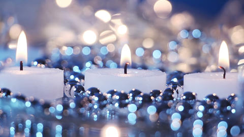 candles and blinking christmas lights seamless loop Footage