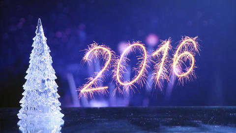 new year 2016 greetings and fireworks loop Footage