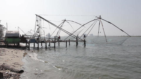 Indian fishers on the sea coast, Fort Kochi, India Footage