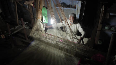 Silk Factory In Varanasi, India stock footage