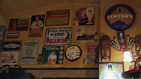 Wall Bar With Vintage Posters. 4K stock footage