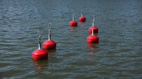 Buoy in the water. 4K Footage