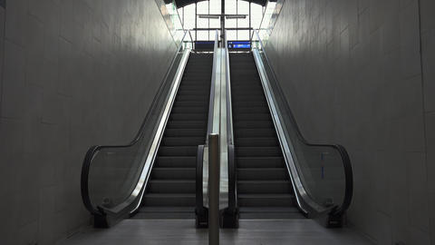 Up and down escalators. 4K Footage