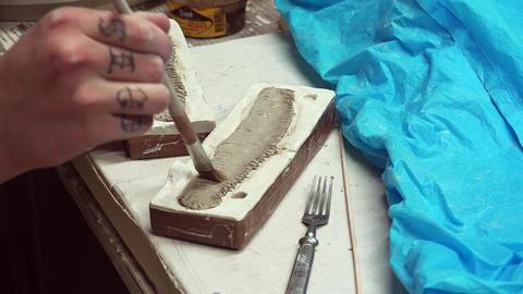 Handmade clay modeling. 4K Footage