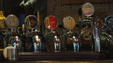 Cranes For Bottling Beer In A Bar. 4K stock footage