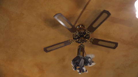 Toy On The Ceiling Fan. 4K stock footage