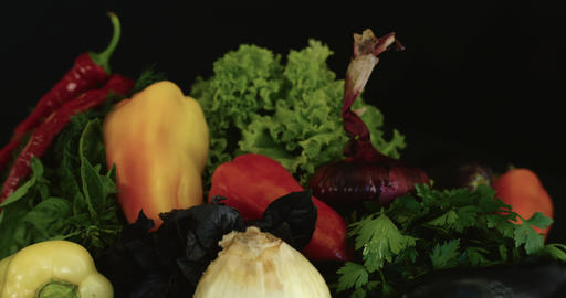 Panning Across Vegetables stock footage