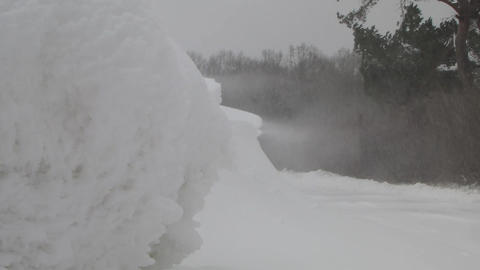 Snowbank during a heavy snow storm, blizzard Footage