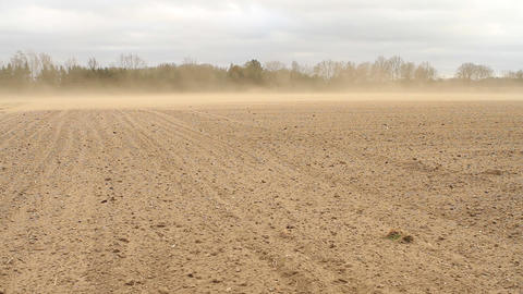 Heavy storm causes soil erosion on a field Footage