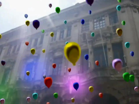 colored ballon flyng Animation