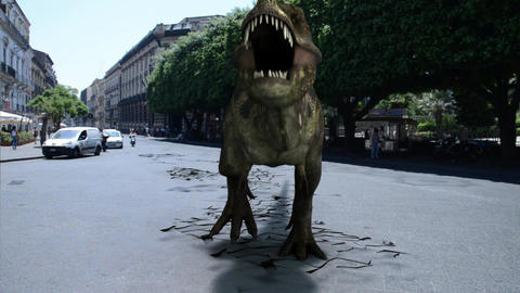 Dinosaurs walking in the street Animation