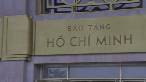 pan of the Ho Chi Minh museum metal sign Footage
