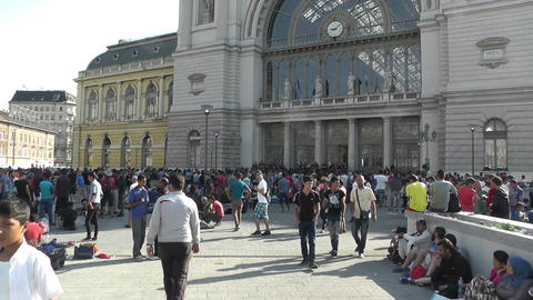 Syrian Migrants at the Eastern Railway Station in Budapest Hungary 1 Footage