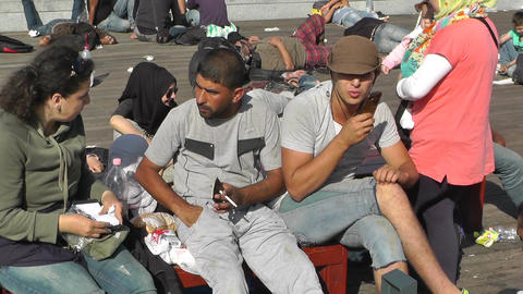 Syrian Migrants at the Eastern Railway Station in Budapest Hungary 23 closeup Footage