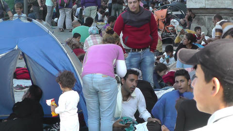 Syrian Migrants at the Eastern Railway Station in... Stock Video Footage