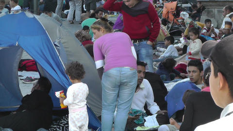 Syrian Migrants at the Eastern Railway Station in Budapest Hungary 27 Footage