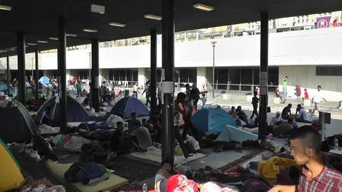 Syrian Migrants at the Eastern Railway Station in Budapest Hungary 35 pan Footage