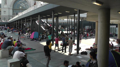 Syrian Migrants at the Eastern Railway Station in… Stock Video Footage