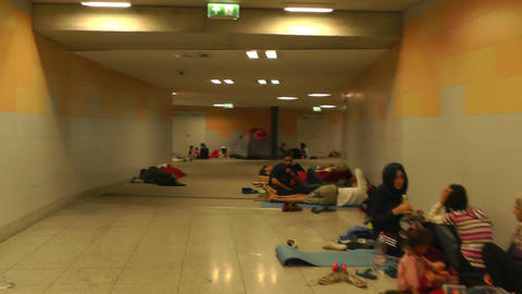 Syrian Migrants at the Eastern Railway Station in Budapest Hungary 60 undergroun Footage