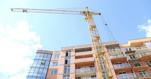Construction. Building. Crane stock footage