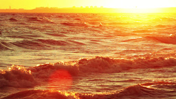 Waves and the Setting Sun Footage