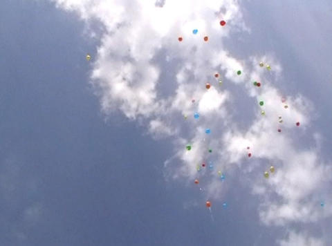Balloons Up In The Sky stock footage