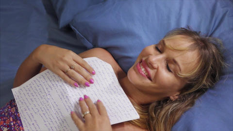 5 Girl In Bed Reading Love Letter From Boyfriend Footage