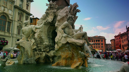 Rome, Italy-circa 2015:fountain in the Piazza Navona;ULTRA HD 4K, real time Live Action
