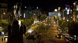Night Wenceslas Square With People And Passing Cars - Buildings And Lights stock footage