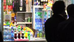 urban street - night city - stand fast food - walking people Footage