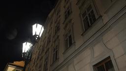 night urban street - lamp - night exterior vintage building - windows Footage